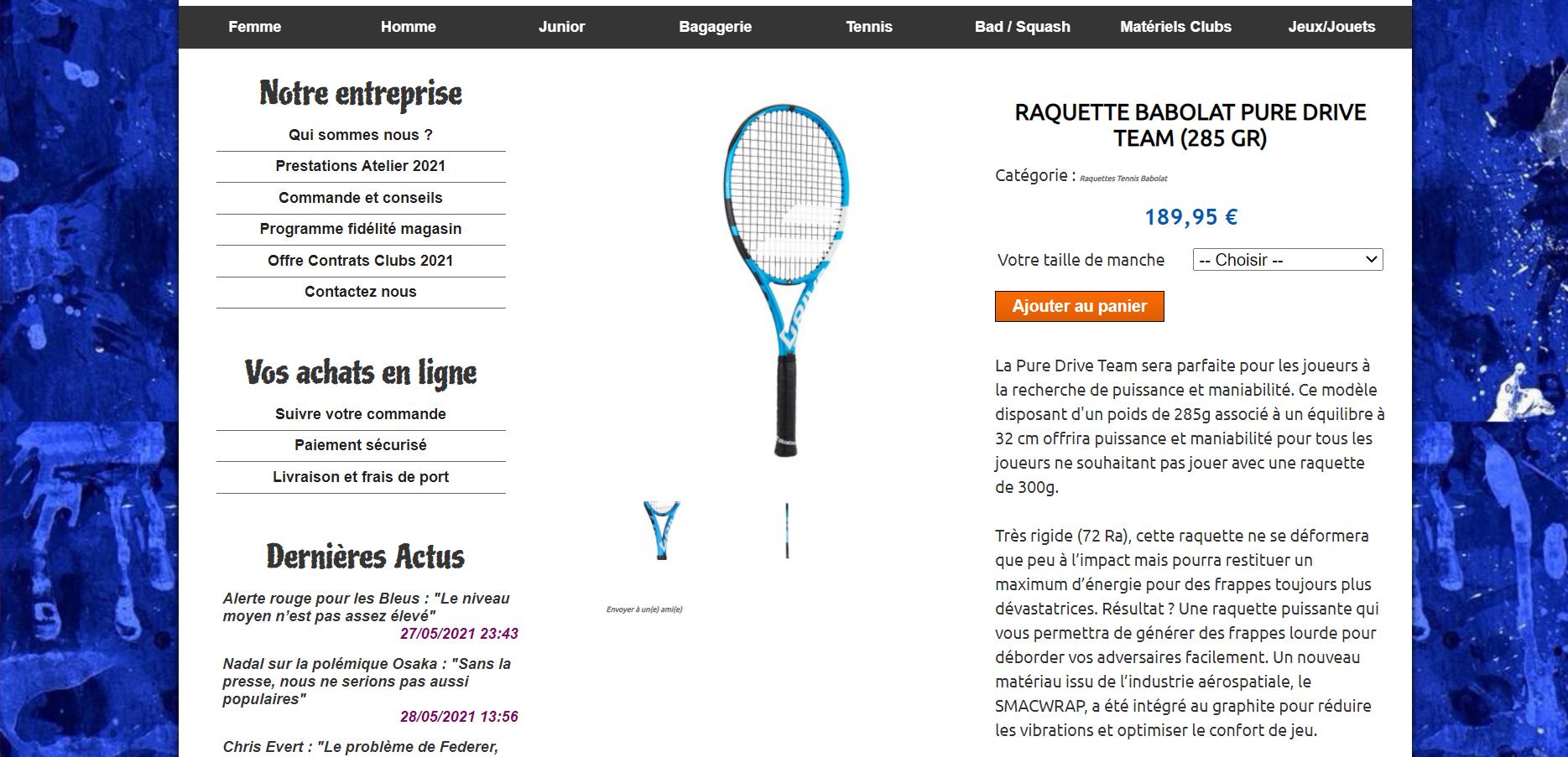 Site internet Sports Factory dédié a la vente en ligne